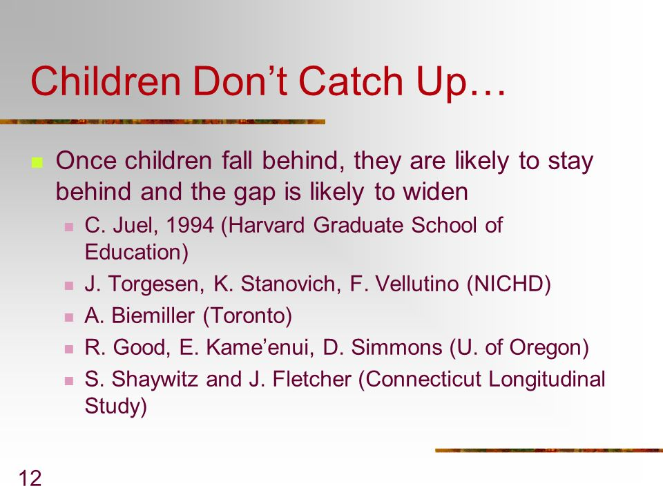Children Don't Catch Up…