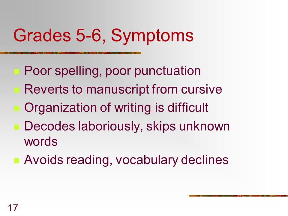 Grades 5-6, Symptoms Poor spelling, poor punctuation