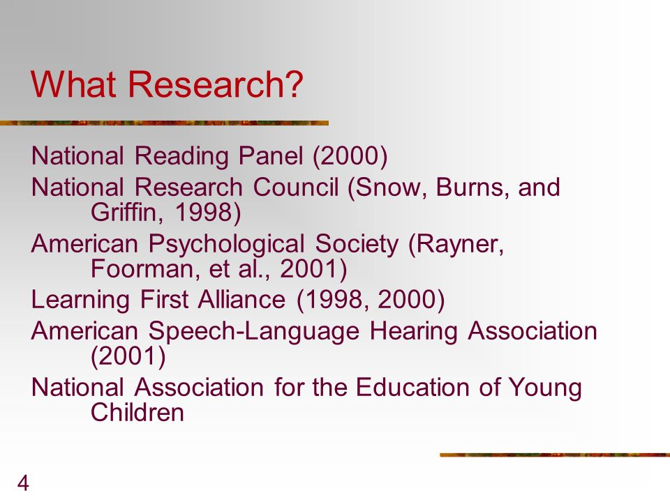 What Research National Reading Panel (2000)