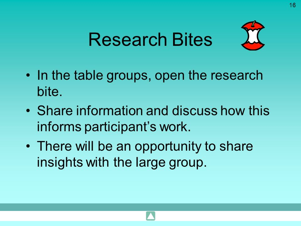 Research Bites In the table groups, open the research bite.