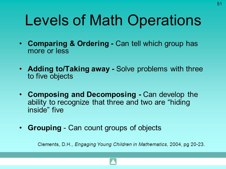 Levels of Math Operations