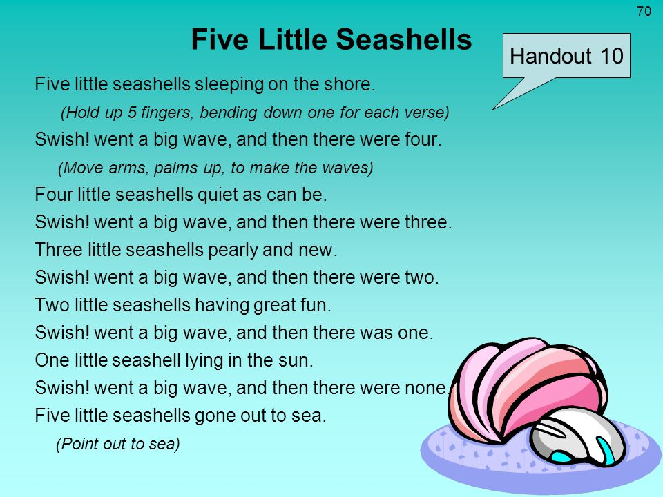 Five Little Seashells Handout 10