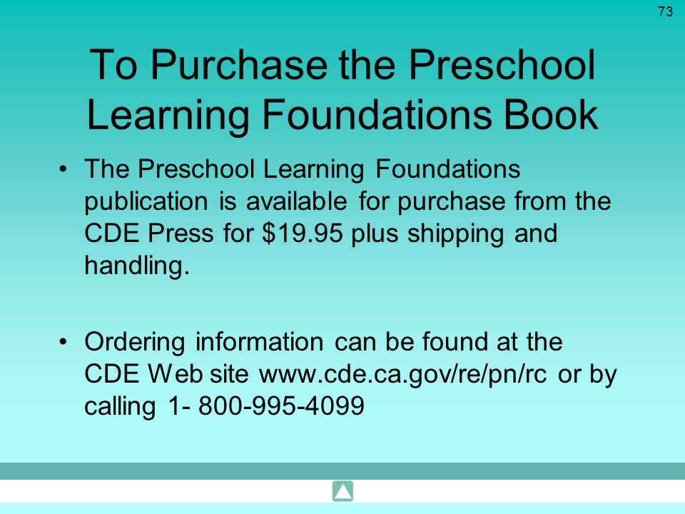 To Purchase the Preschool Learning Foundations Book