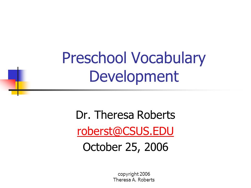 Preschool Vocabulary Development