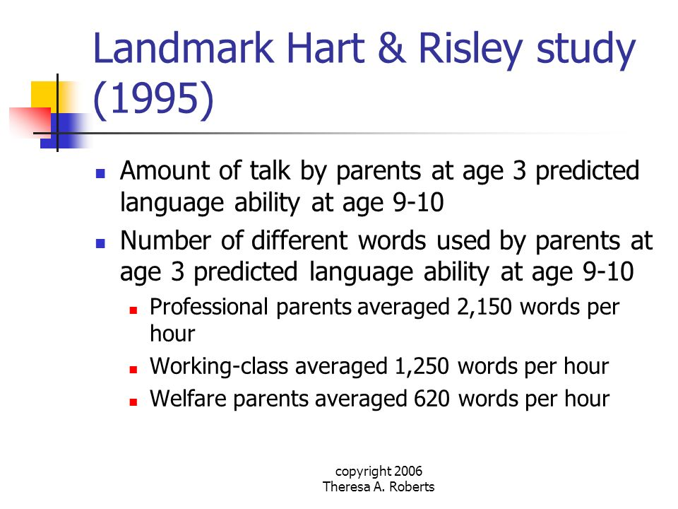 Landmark Hart & Risley study (1995)
