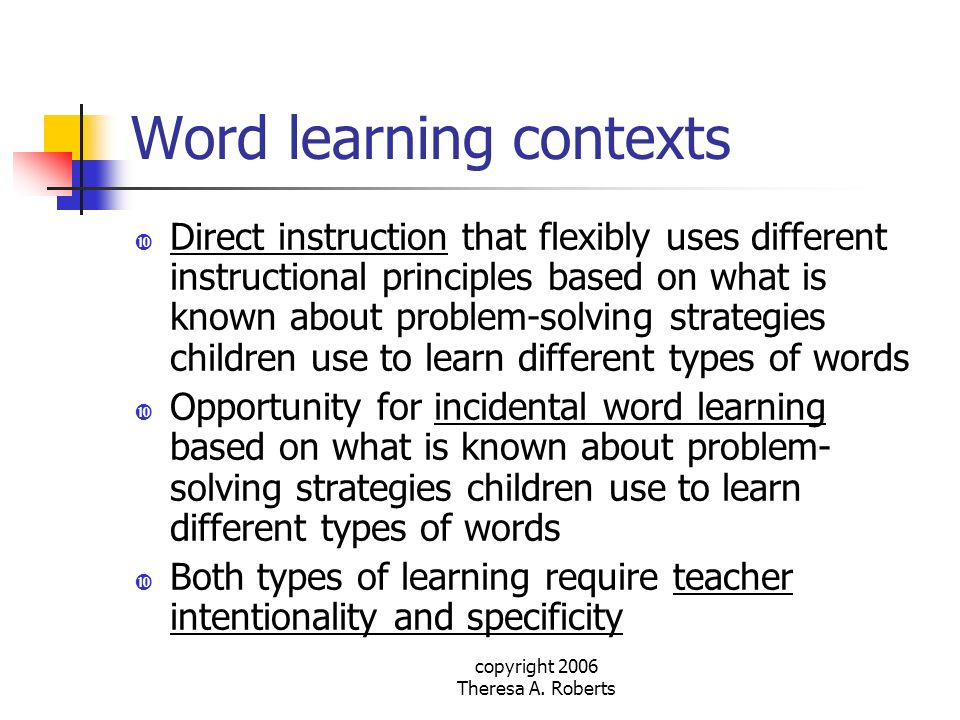 Word learning contexts