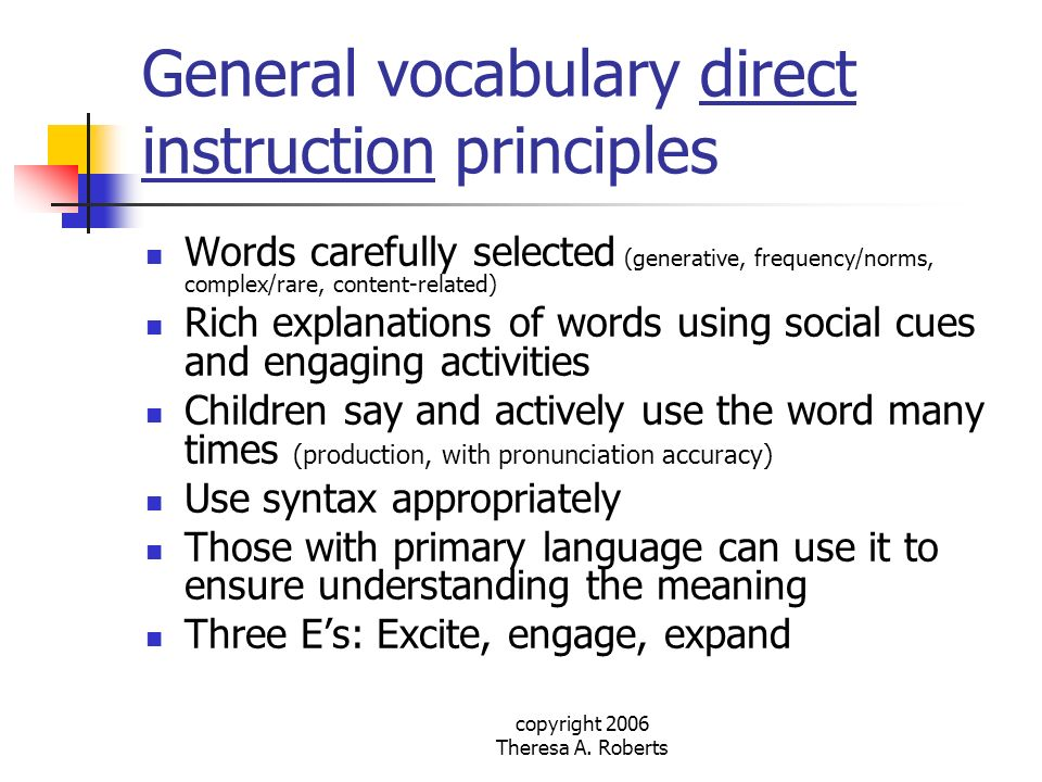 General vocabulary direct instruction principles