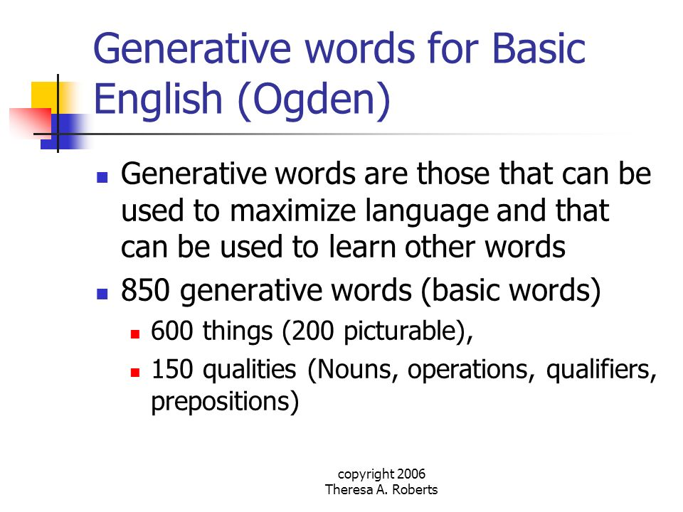 Generative words for Basic English (Ogden)