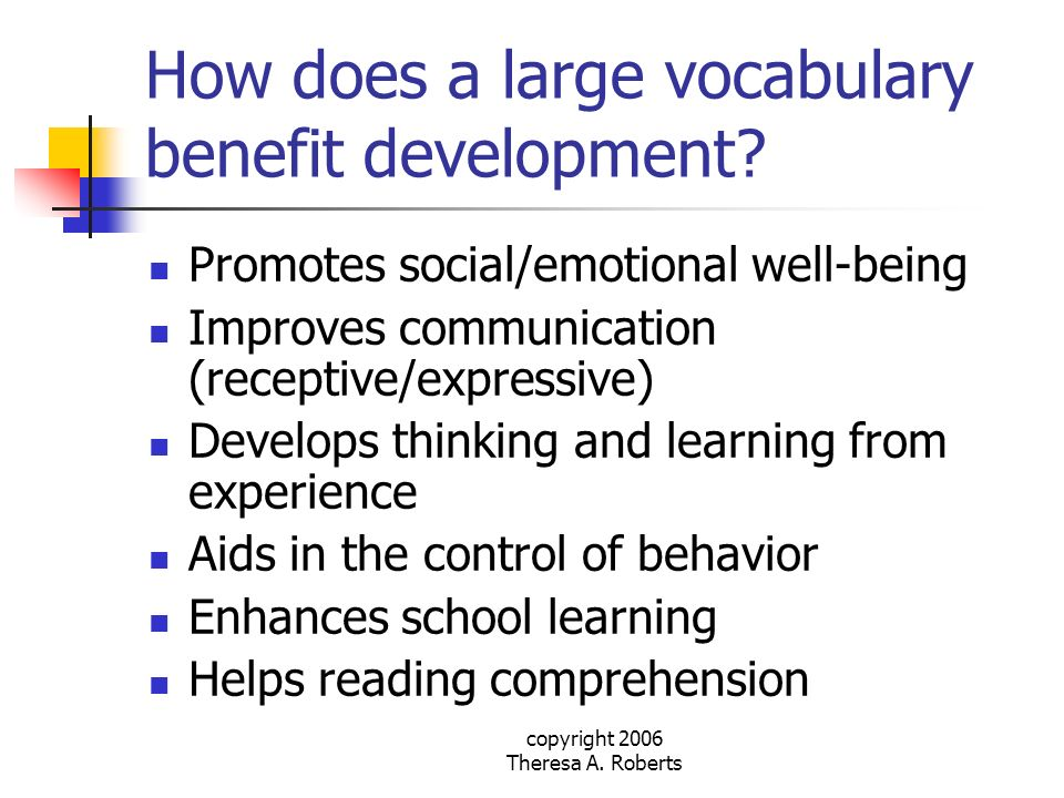 How does a large vocabulary benefit development