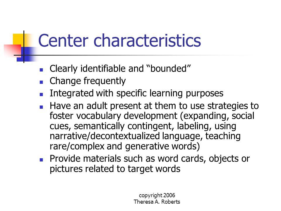 Center characteristics