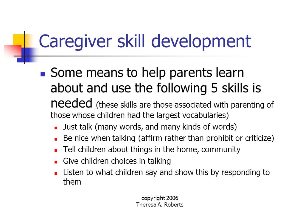 Caregiver skill development