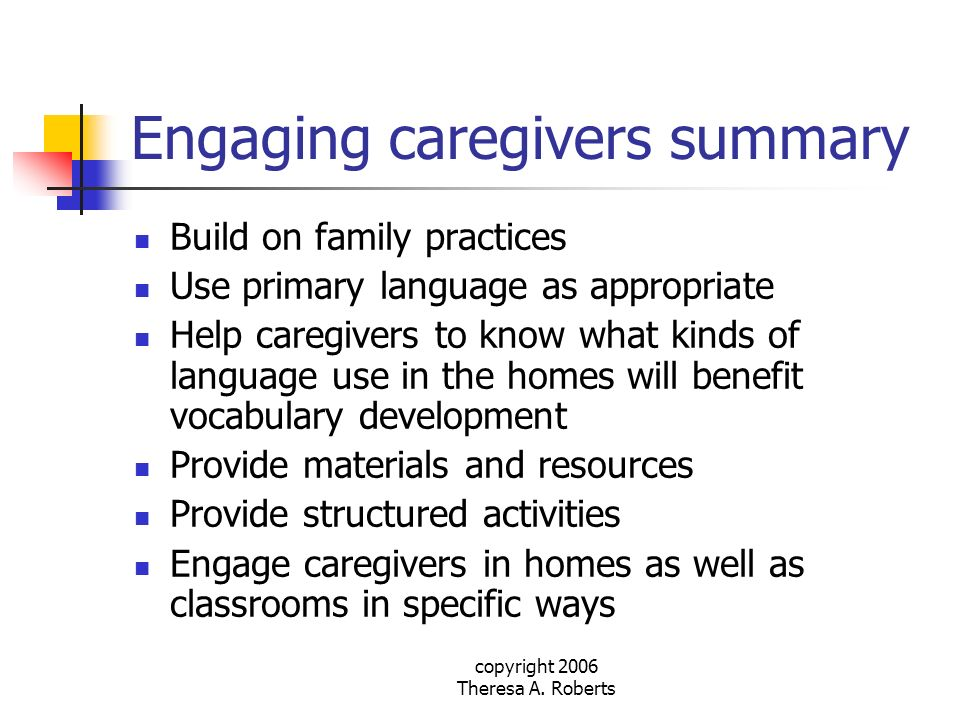 Engaging caregivers summary