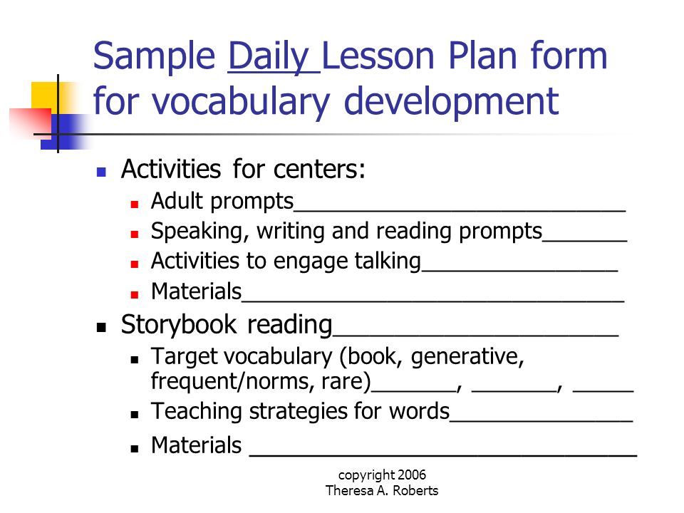 Sample Daily Lesson Plan form for vocabulary development