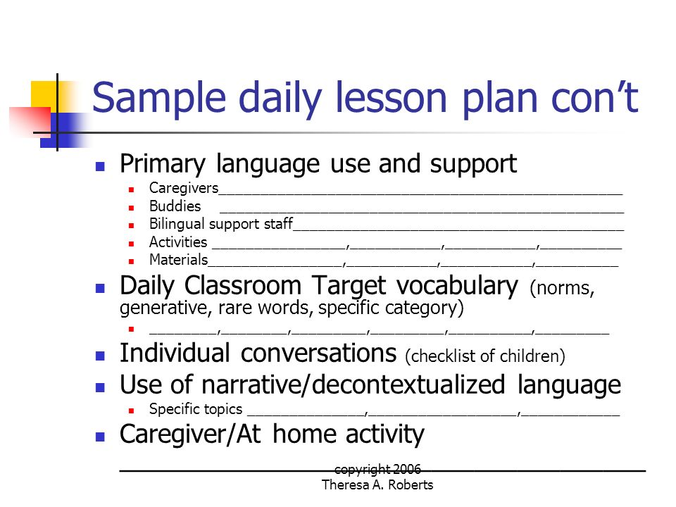 Sample daily lesson plan con't