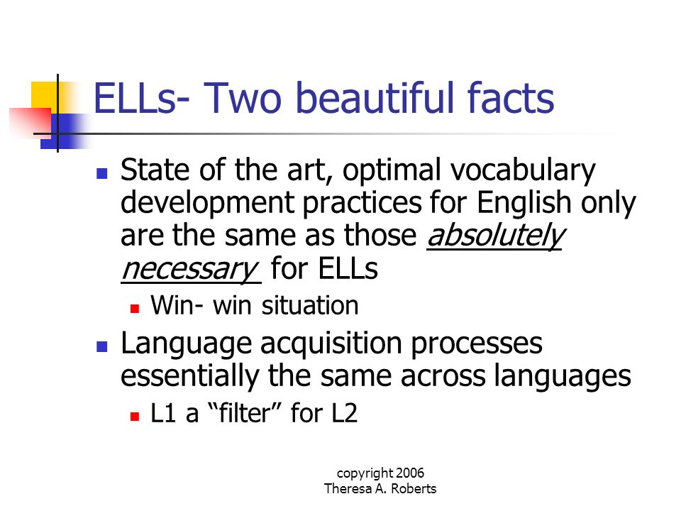 ELLs- Two beautiful facts