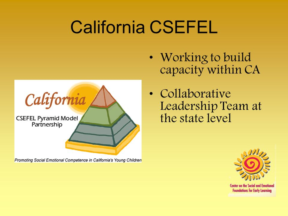 California CSEFEL Working to build capacity within CA