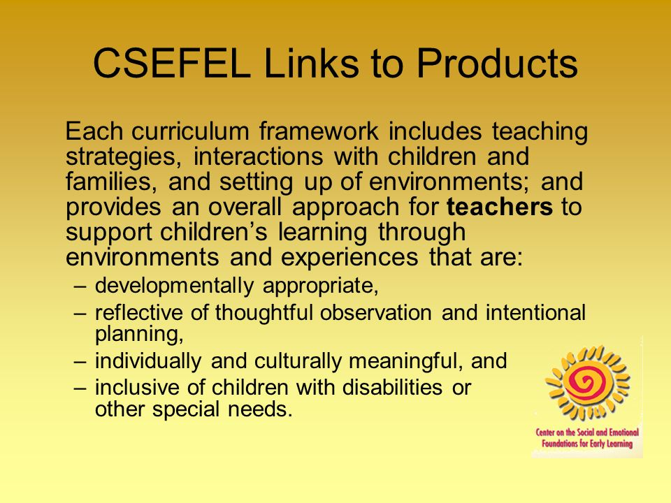 CSEFEL Links to Products