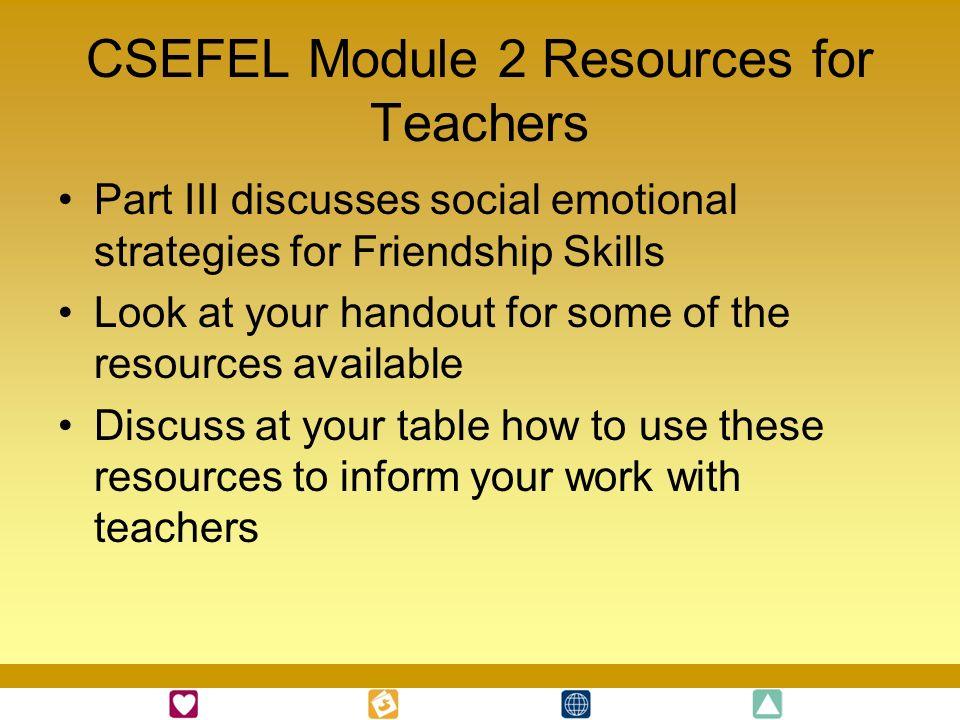 CSEFEL Module 2 Resources for Teachers