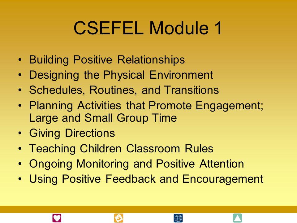 CSEFEL Module 1 Building Positive Relationships