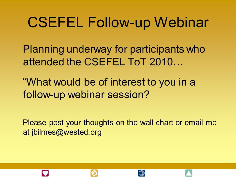 CSEFEL Follow-up Webinar