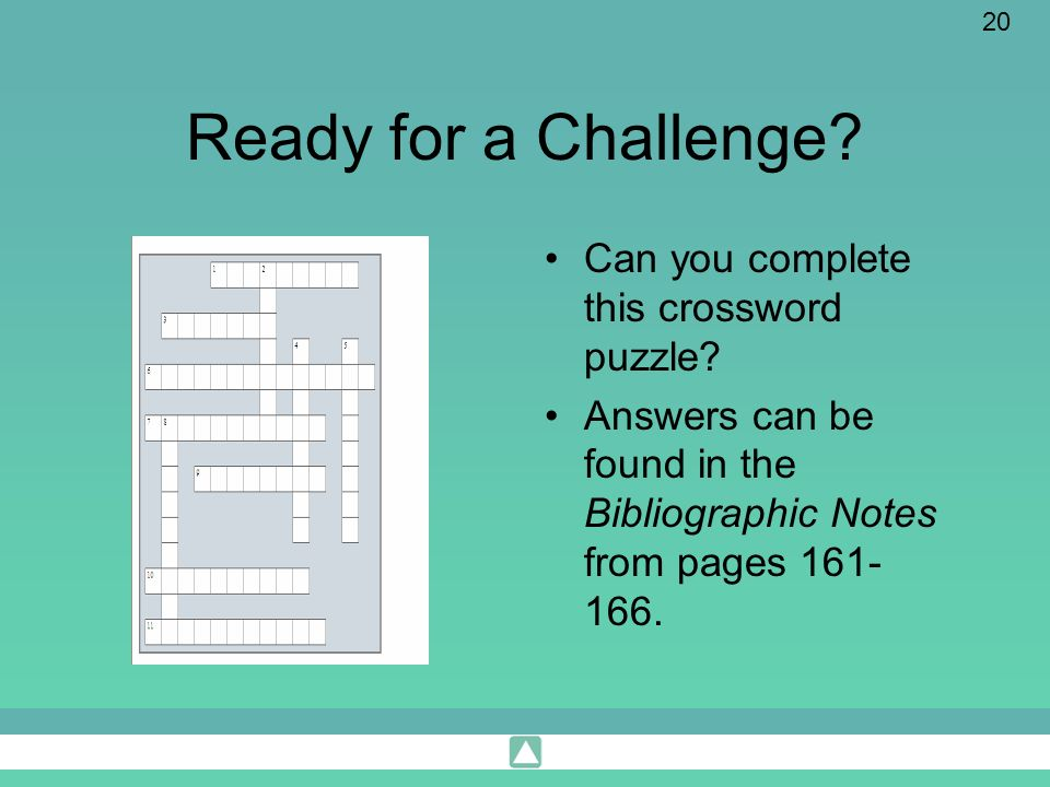 Ready for a Challenge Can you complete this crossword puzzle