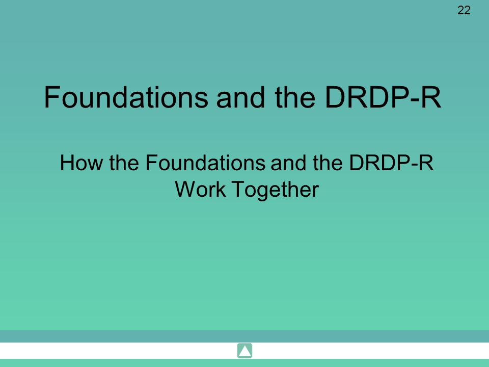 Foundations and the DRDP-R