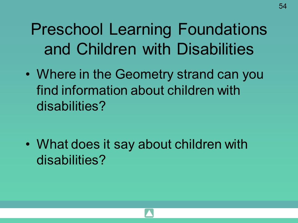 Preschool Learning Foundations and Children with Disabilities