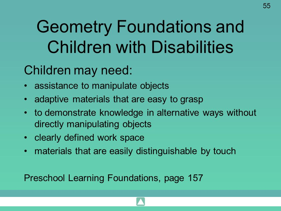 Geometry Foundations and Children with Disabilities