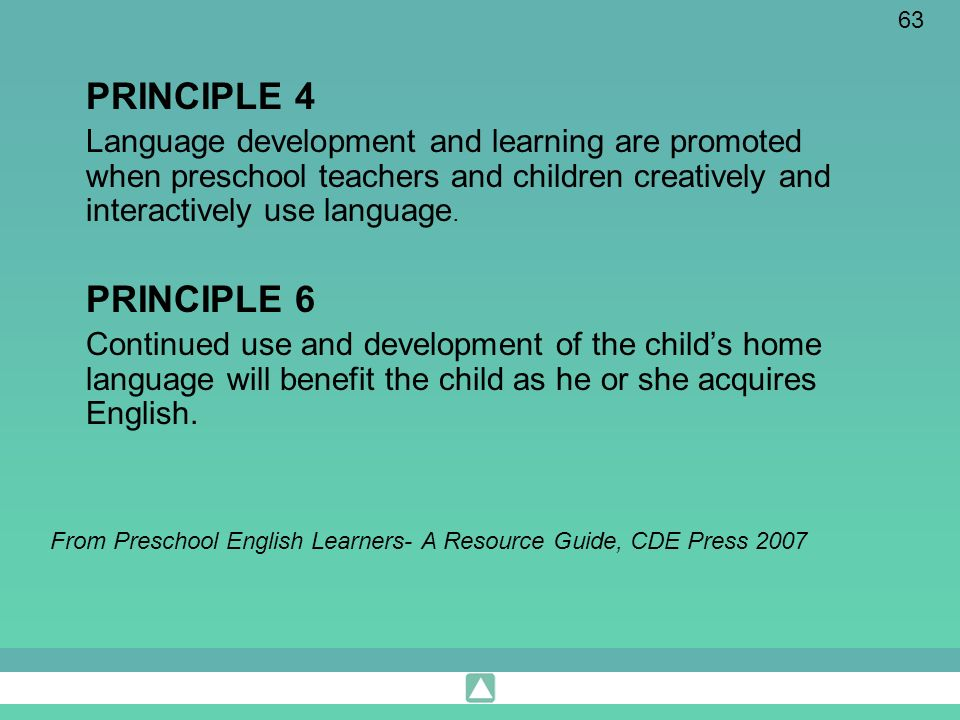 PRINCIPLE 4 Language development and learning are promoted when preschool teachers and children creatively and interactively use language.