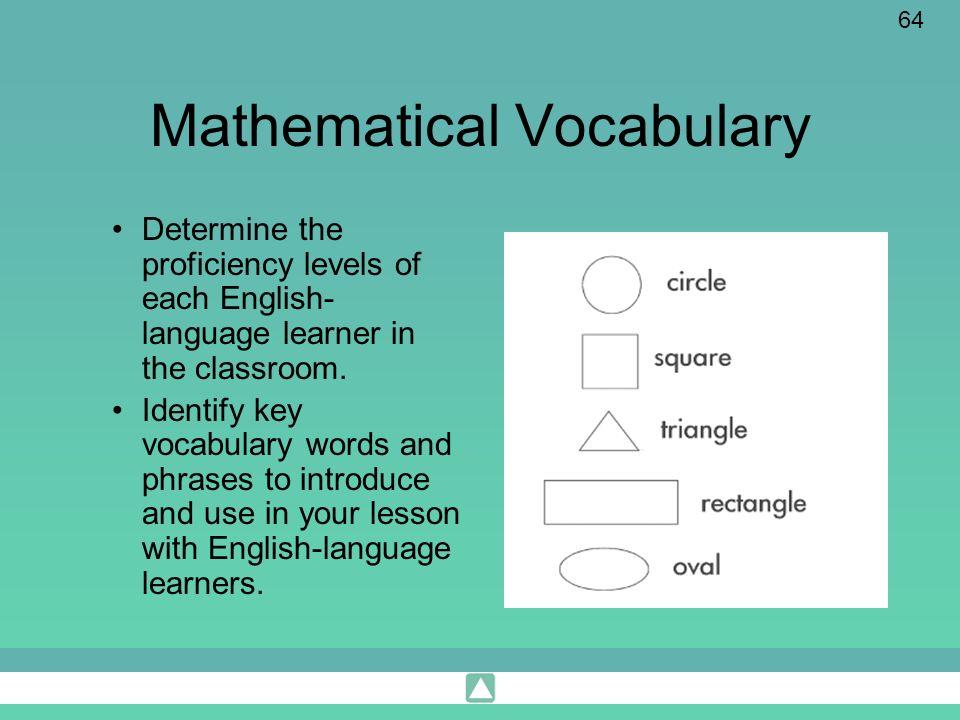 Mathematical Vocabulary