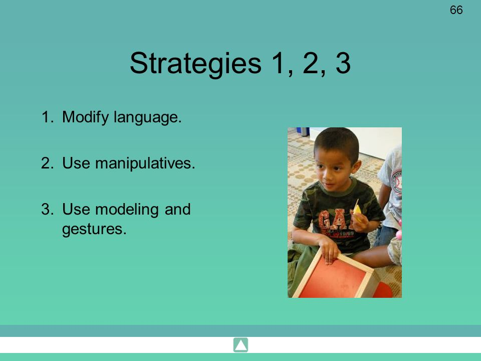 Strategies 1, 2, 3 Modify language. Use manipulatives.