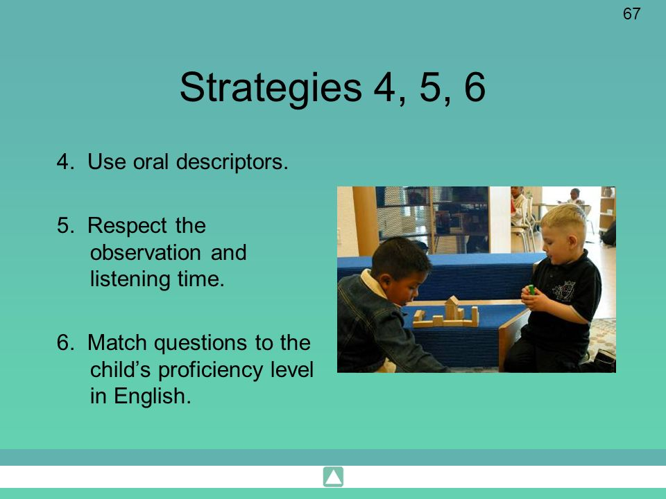 Strategies 4, 5, 6 4. Use oral descriptors.