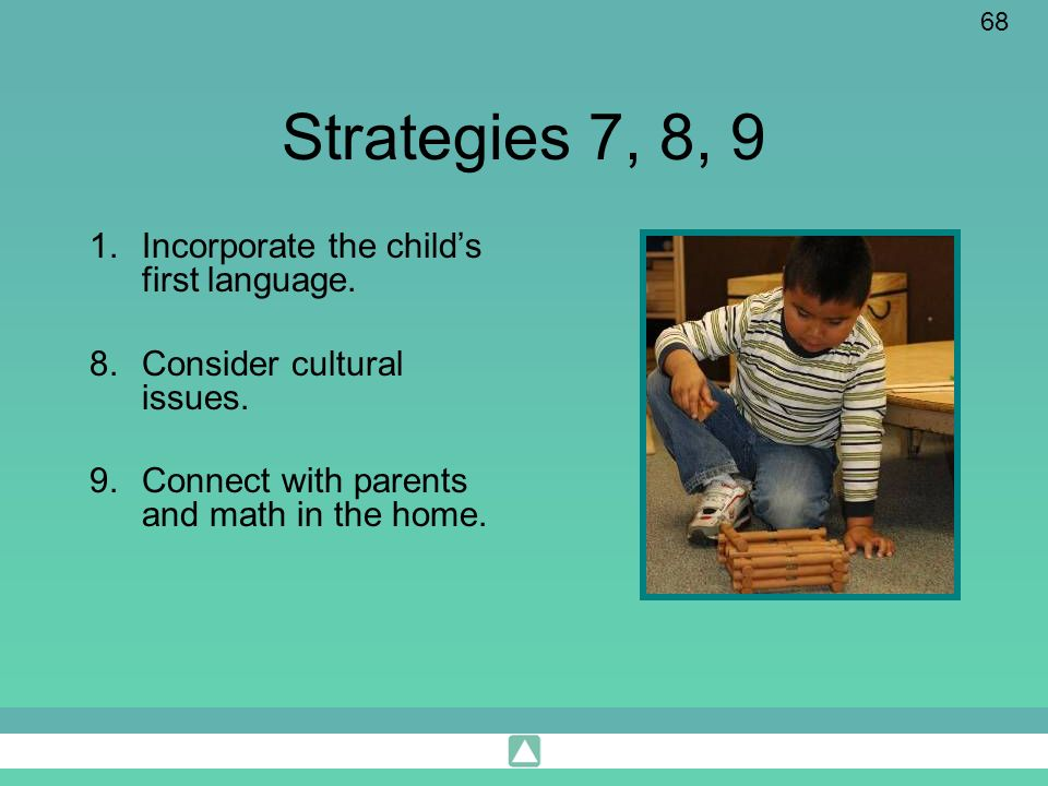 Strategies 7, 8, 9 Incorporate the child's first language.