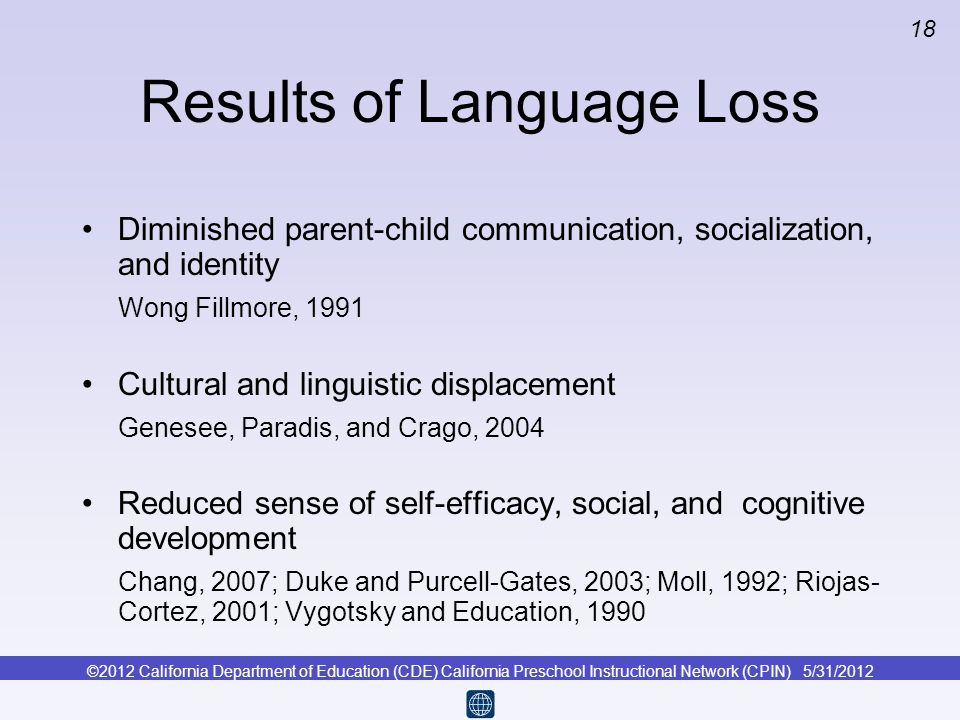 Results of Language Loss