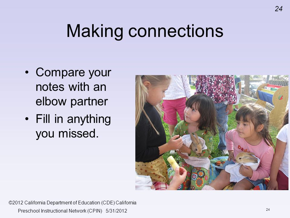 Making connections Compare your notes with an elbow partner