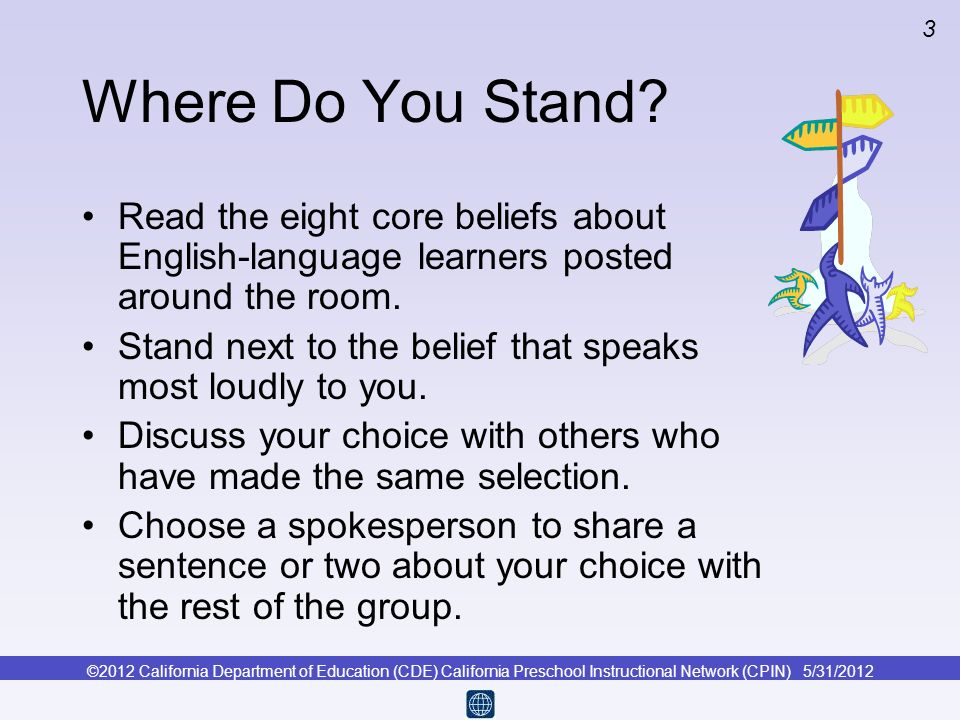 Where Do You Stand Read the eight core beliefs about English-language learners posted around the room.