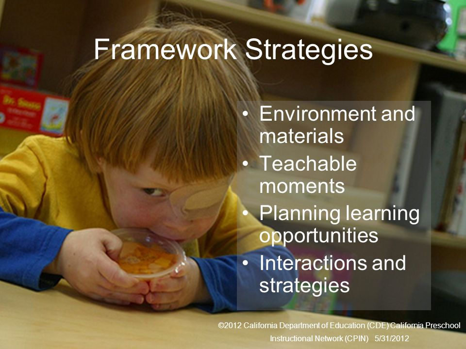 Framework Strategies Environment and materials Teachable moments