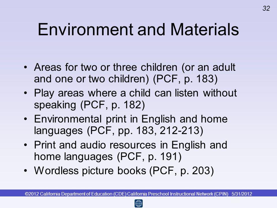 Environment and Materials