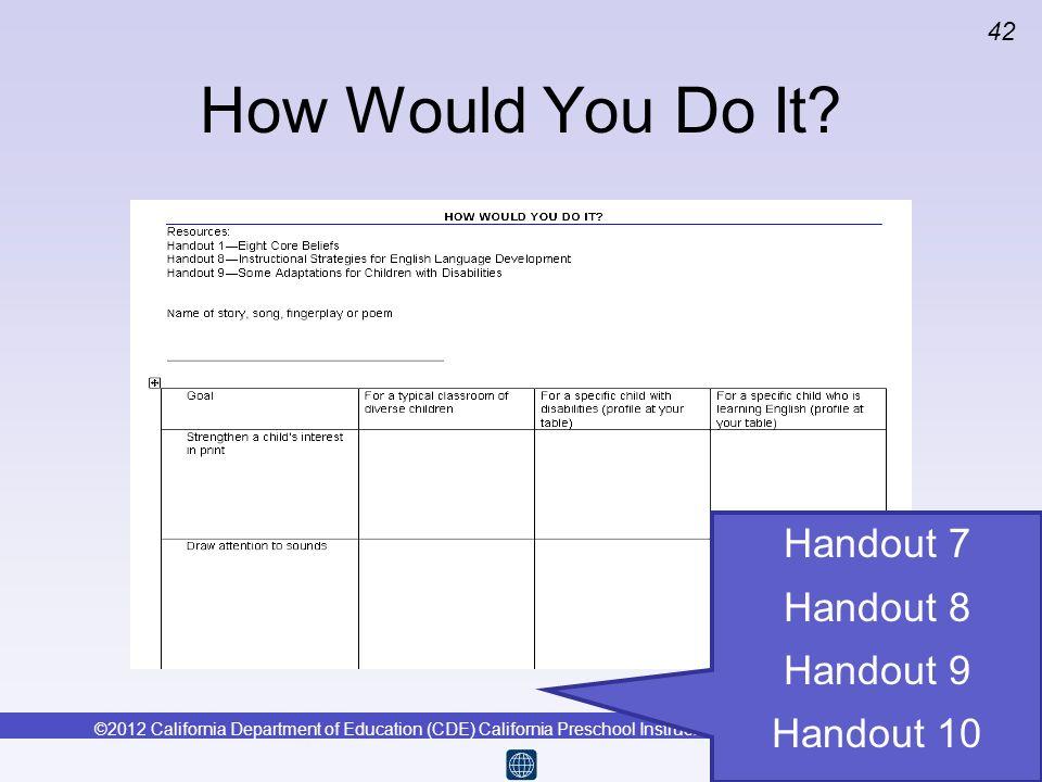 How Would You Do It Handout 7 Handout 8 Handout 9 Handout 10