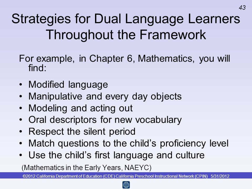 Strategies for Dual Language Learners Throughout the Framework