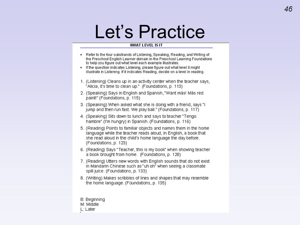 Let's Practice Activity 5: What Level is It