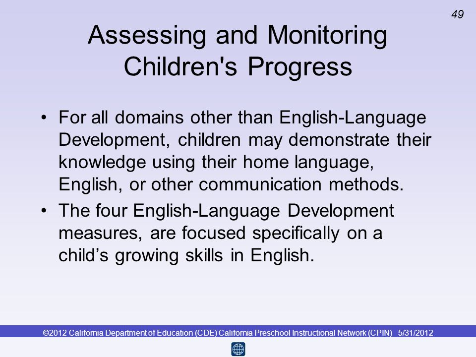 Assessing and Monitoring Children s Progress