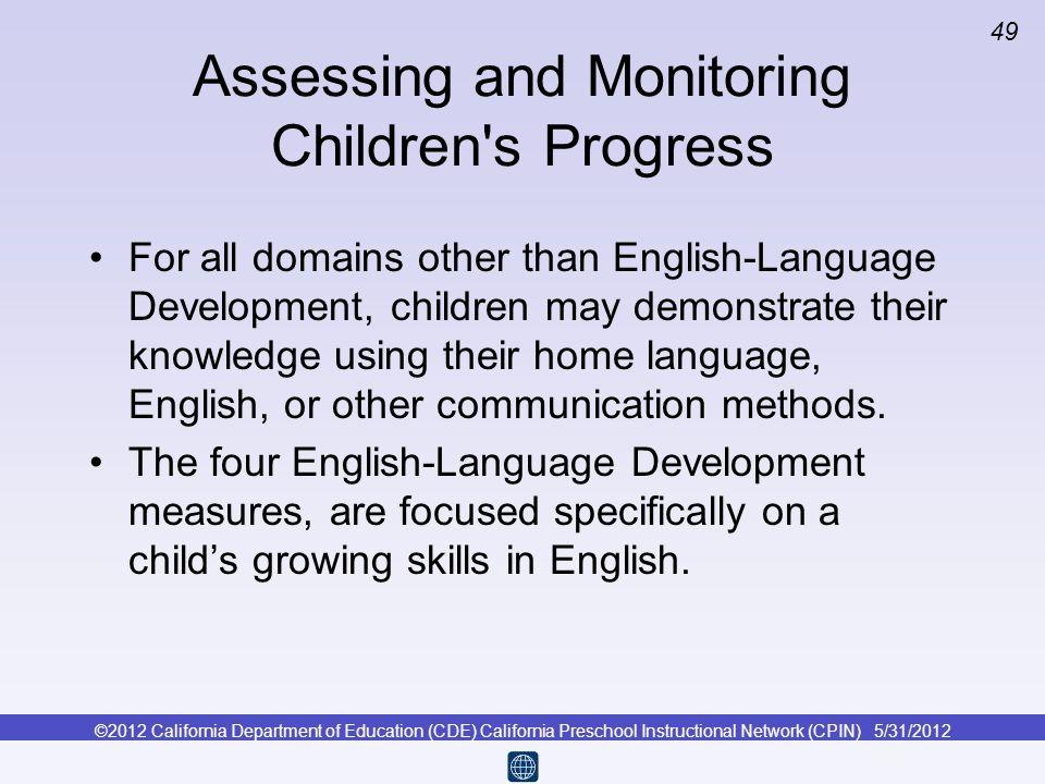 Assessing and Monitoring Children s Progress
