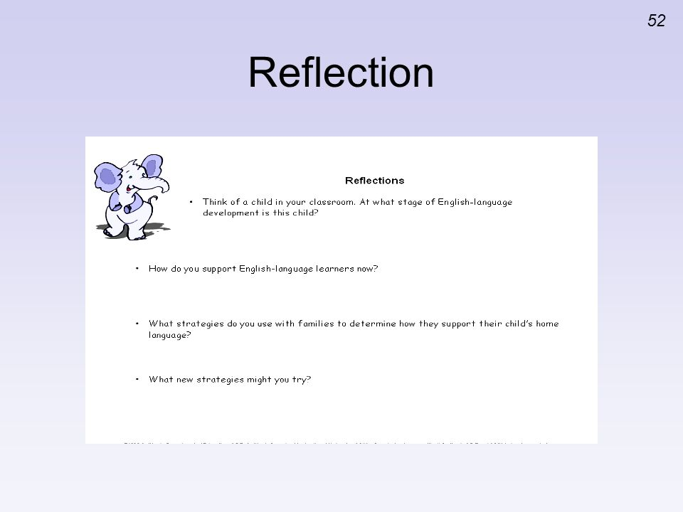 Reflection Read aloud the questions on the slide.