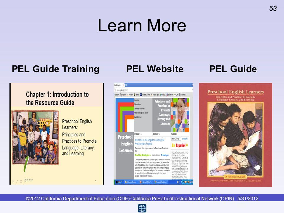 Learn More PEL Guide Training PEL Website PEL Guide