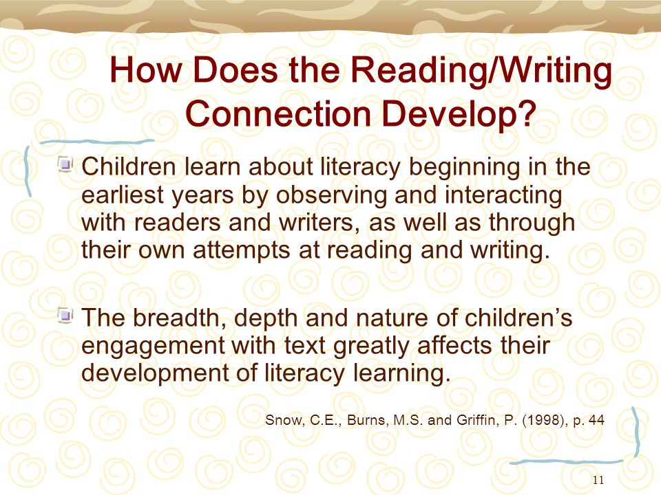 How Does the Reading/Writing Connection Develop