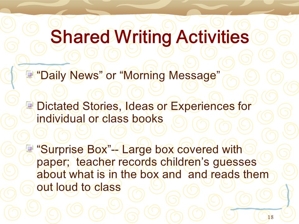 Shared Writing Activities