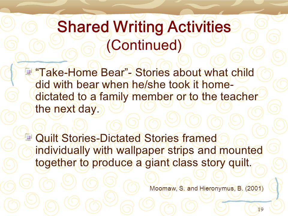 Shared Writing Activities (Continued)