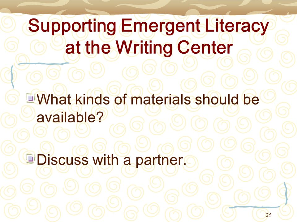 Supporting Emergent Literacy at the Writing Center