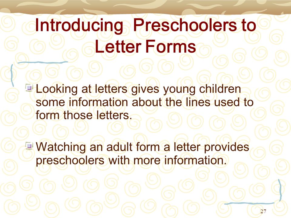 Introducing Preschoolers to Letter Forms